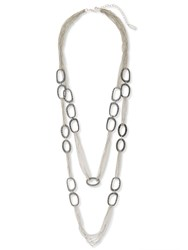 East Metal Chain And Link Necklace Silver