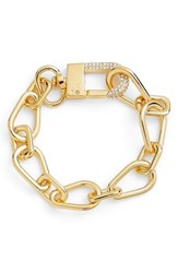 Vince Camuto Crystal Clasp Chain Bracelet Gold