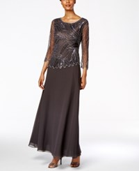 J Kara Embellished Beaded A Line Gown Gray