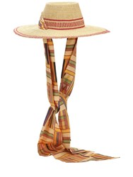 Margherita X Cambiaghi X Oafrica Brimmed Straw Hat W Long Scarf Beige Red