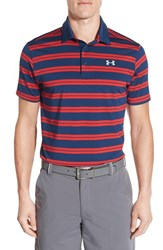 Men's Under Armour 'Groove' Short Sleeve Polo Black Out Navy Red