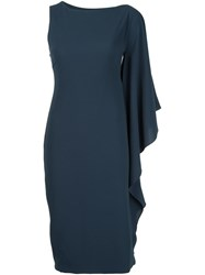 Cushnie Et Ochs Draped One Sleeve Dress Blue