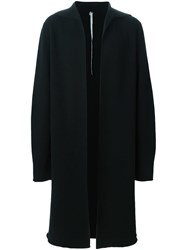 Label Under Construction Open Front Overcoat Black