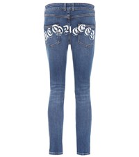 Alexander Mcqueen Printed Mid Rise Skinny Jeans Blue