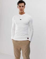 Superdry Henley Long Sleeve T Shirt In White