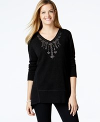 Styleandco. Style And Co. Petite Studded V Neck Sweater