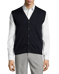 Neiman Marcus Button Front V Neck Sweater Vest Dark Midni