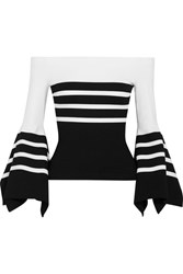 Rosetta Getty Off The Shoulder Striped Stretch Jersey Top White