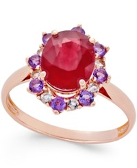 Macy's Ruby 1 1 2 Ct. T.W. Amethyst 1 2 Ct. T.W. And White Sapphire 1 4 Ct. T.W. Ring In 10K Rose Gold Red