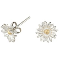 Dower And Hall Daisy Stud Earrings Silver