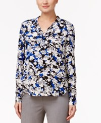 Nine West Printed V Neck Top Blood Mood