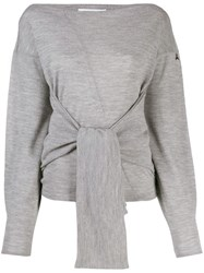 Patrizia Pepe Tie Front Fine Knit Sweater Grey