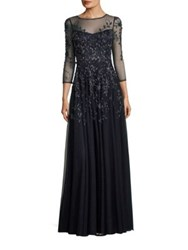 Theia Beaded Embroidered Gown Navy