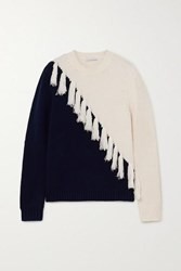 J.W.Anderson Jw Anderson Tasselled Two Tone Wool And Cashmere Blend Sweater Navy