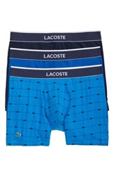 Lacoste Signature 3 Pack Boxer Briefs Navy Brill Blue