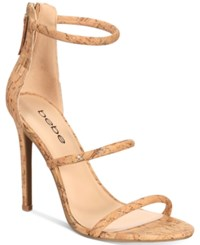 Bebe Berdine Ankle Strap Dress Sandals Gold Cork