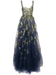 Oscar De La Renta Structured Gown With Botanical Embroidery Blue