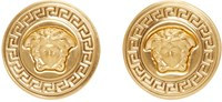 Versace Gold Medusa Medallion Earrings