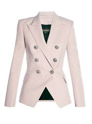 Balmain Six Button Double Breasted Wool Blazer Pink