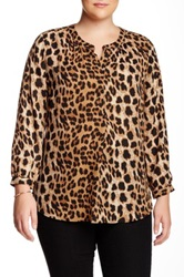 Daniel Rainn Animal Print Blouse Plus Size Brown