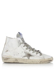 Golden Goose Francy High Top Leather Trainers White Silver