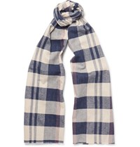 J.Crew Checked Cotton Scarf Navy