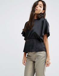 Asos Kimono Sleeve Blouse In Satin Black