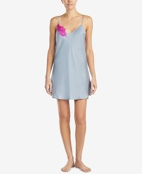 Betsey Johnson Blue By Lace Detail Cutout Back Chemise Silver Grey