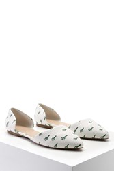 Forever 21 Pointed Cactus Print Flats Cream