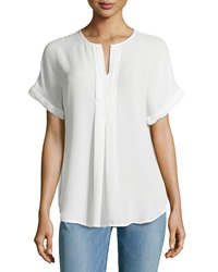 Max Studio Pleated Front Rolled Cuff Blouse Off White