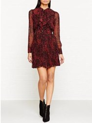 Karen Millen Leopard Print And Frill Shirt Dress Red