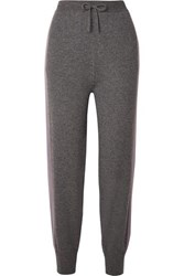 Agnona Two Tone Cashmere Track Pants Gray