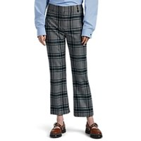 Cedric Charlier Plaid Wool Blend Crop Trousers Gray