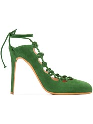 Alexa Wagner Lace Up Sandals Women Leather Suede 37.5 Green