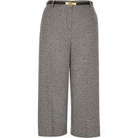 River Island Womens Grey Tweed Belted Culottes