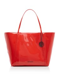 Armani Exchange Patent Large Tote Red