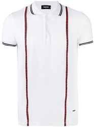 Dsquared2 Plaid Trimmed Polo Shirt Men Cotton Xl White