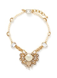Miriam Haskell Crystal Filigree Baroque Glass Pearl Necklace White