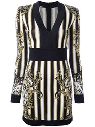 Balmain Striped Baroque Dress Black