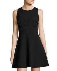 19 Cooper Sleeveless Mesh Inset Fit And Flare Dress Black