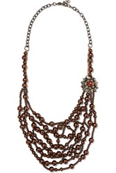 Valentino Gunmetal Tone Faux Pearl And Crystal Necklace Metallic