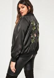 Missguided Plus Size Black Embroidered Bomber Jacket