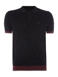 Merc Short Sleeve Diagonal Stick Knitted Polo Black