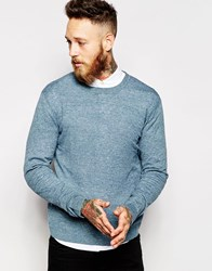 Asos Crew Neck Jumper In Cotton Denimwhitetwist