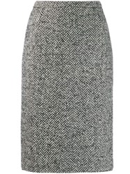 Red Valentino Herringbone Pencil Skirt Black