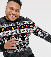 New Look Plus Christmas Jumper With Penguins In Black