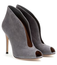 Gianvito Rossi Vamp Suede Peep Toe Ankle Boots Grey