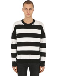The Kooples Destroyed Stripe Wool Knit Sweater Black White