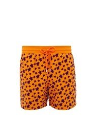 Vilebrequin Moorea Flocked Turtle Print Swim Shorts Orange Multi
