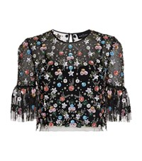 Needle And Thread Starburst Embroidered Crop Top Female Black